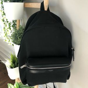 YSL City Backpack in Black Canvas- Authentic